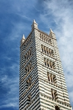 more detailed look on tower siena cathedral in siena italy