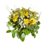 yellow bouquet on white background