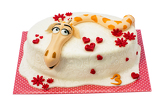 birthday cake with giraffe motif