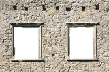 Photo window in the ancient stone wall white isolated