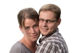 closeup portrait of beautiful happy couple isolated on white background