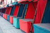 color empty stalls in row
