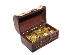 open chest full of gold coins on a white background