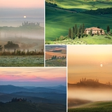 collage scenic view of typical tuscany landscape  belvedere