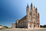 orvieto cathedral umbria italy orvieto is noted for its gothic cathedral or duomo the church is striped in white travertine and greenishblack basalt in narrow bands