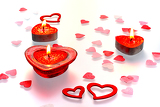 valentine heart and candle on white  background