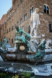 Photo view on piazza della signoria and fountain of neptune in florence  italy