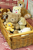 full basket of teddy bears