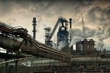 Photo metallurgical works with smoke industrial architecture