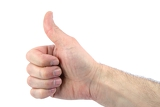 thumbs up mans hand isolated on white background