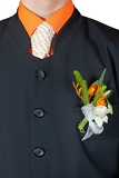 Fotografie wedding flower boutonniere on suit of groom