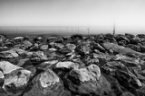 Fotografie view of the sea with stones in the netherlands