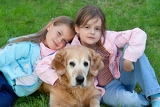 Fotografie two young girl and dog   golden retriever
