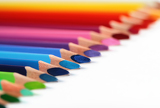 Fotografie assortment of colored pencils with shadow on white background  colored crayons