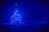Fényképek abstract winter blue background with stars snowflakes and christmas tree illustration