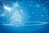 abstract winter blue background with stars snowflakes and christmas tree illustration