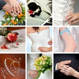 Fotografie collage of nine wedding photos