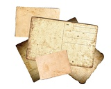 old paper letters and postcards on white background