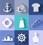Fotografia sailor and ships flat icon set for creative needs