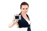the attractive woman show your photo on digital camera  on white background