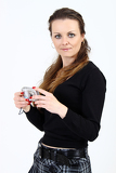 Fotografie the attractive woman with digital camera  on white background