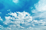 Photo spring or summer blue sky with clouds