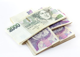 Photo czech banknotes nominal value one and two thousand crowns on white background
