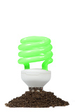 conceptual  energy saving lamp with green spiral on the white background
