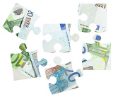 pieces of euro banknotes puzzles on white background