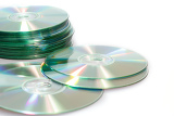 Fotografia group of compact discs cdrom on a white background
