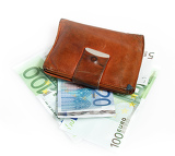 leather wallet with euro banknotes on white background