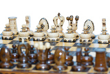 chess board focus to white king and queen on white background