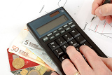 Fényképek calculator charts pen in hand business cards money workplace businessman business collage