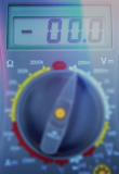 Photo modern digital multimeter with shallow focus color toned