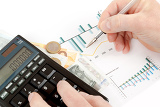 calculator charts pen in hand business cards money workplace businessman business collage