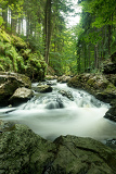 czech mountain creek doubrava in czech republic with slow shutter speed