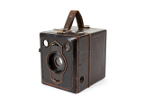 very old vintage camera isolated on white background
