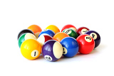 Fotografia brightly colored pool or billiard balls on white backgound