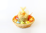 Fotografie easter decoration with small duck and eggs on white background