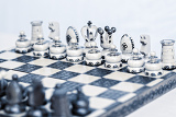 Photo chess board toned and focus to white pawn