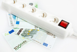 Fotografia concept save money with energy saving in electricity on white background