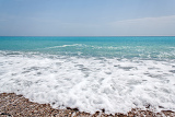 beach with waves at the mediterranean resort antalya turkey