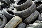 pile of old tires for rubber recycling