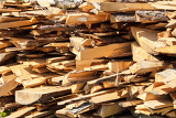 the firewood pile of wood cuttings for heating