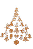 Fotografia gingerbreads arranged as christmas tree on white background