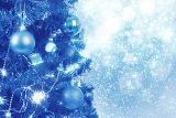 blue christmas background with balls on tree and snowflakes