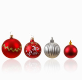 collection of four christmas balls on white background