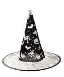 black fabric witch hat for halloween on white background