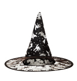 Photo black fabric witch hat for halloween on white background