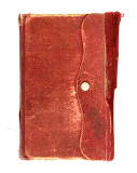Fotografie leather bound very old note book on white